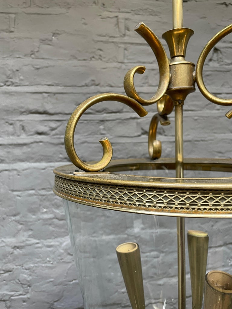 Italian Brass and Glass Lantern For Sale 1