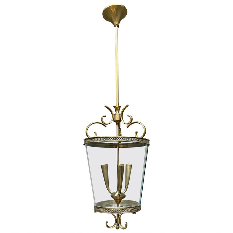 Italian Brass and Glass Lantern For Sale