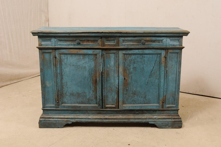 A 19th Century Italian Console Storage Cabinet, in Beautiful Blue Color In Good Condition For Sale In Atlanta, GA