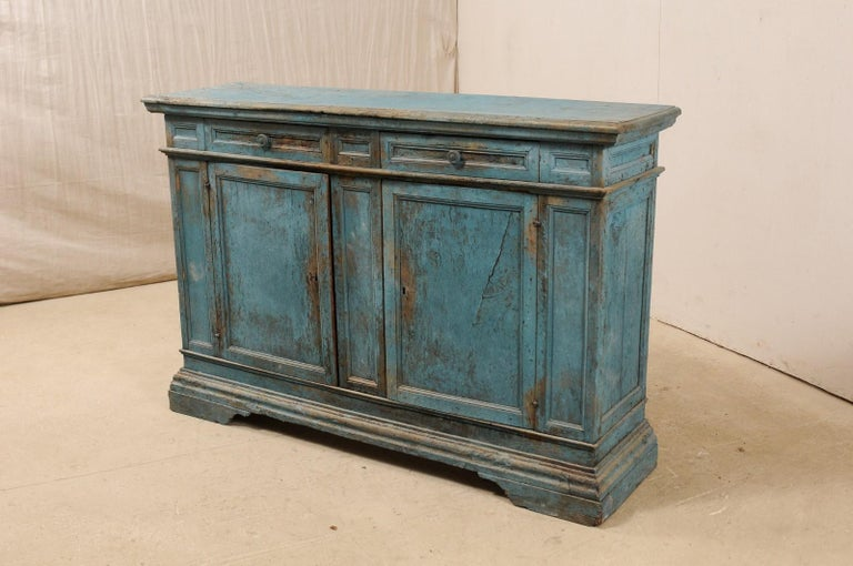 Wood A 19th Century Italian Console Storage Cabinet, in Beautiful Blue Color For Sale