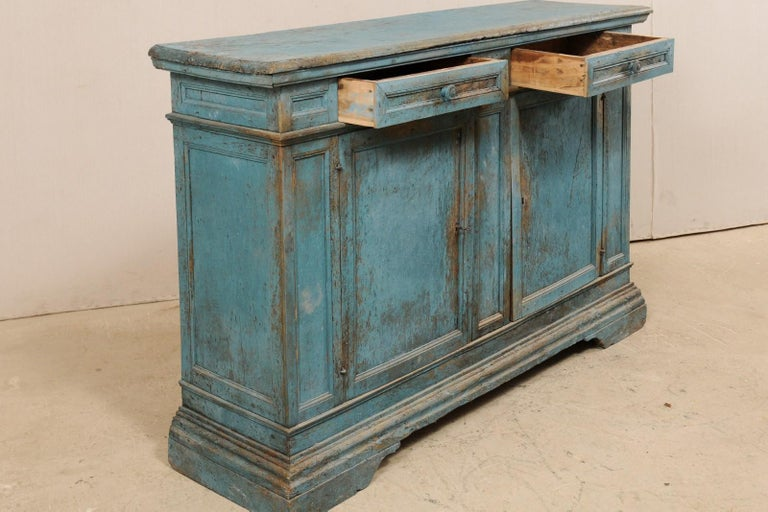A 19th Century Italian Console Storage Cabinet, in Beautiful Blue Color For Sale 1