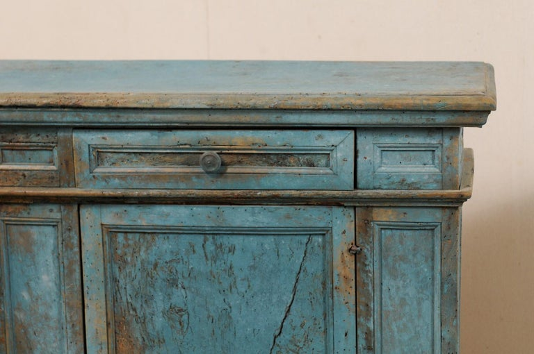 A 19th Century Italian Console Storage Cabinet, in Beautiful Blue Color For Sale 3