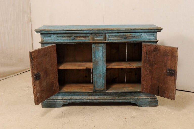 A 19th Century Italian Console Storage Cabinet, in Beautiful Blue Color For Sale 4