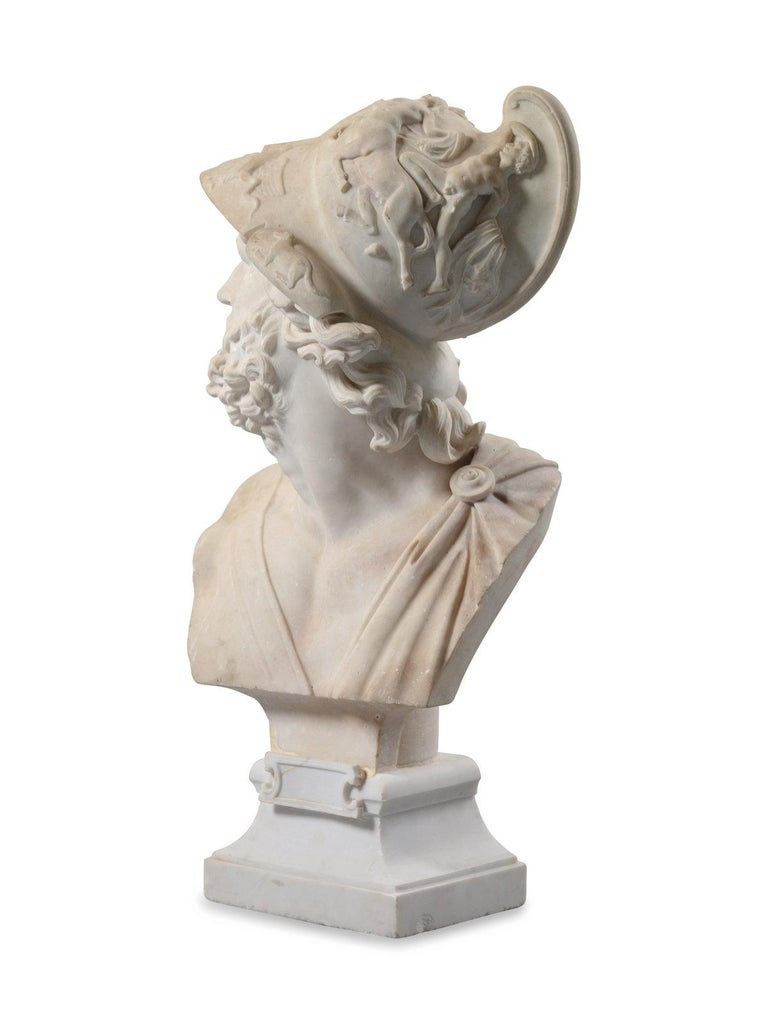Italian Carved Marble Bust of Ajax In Good Condition For Sale In Atlanta, GA