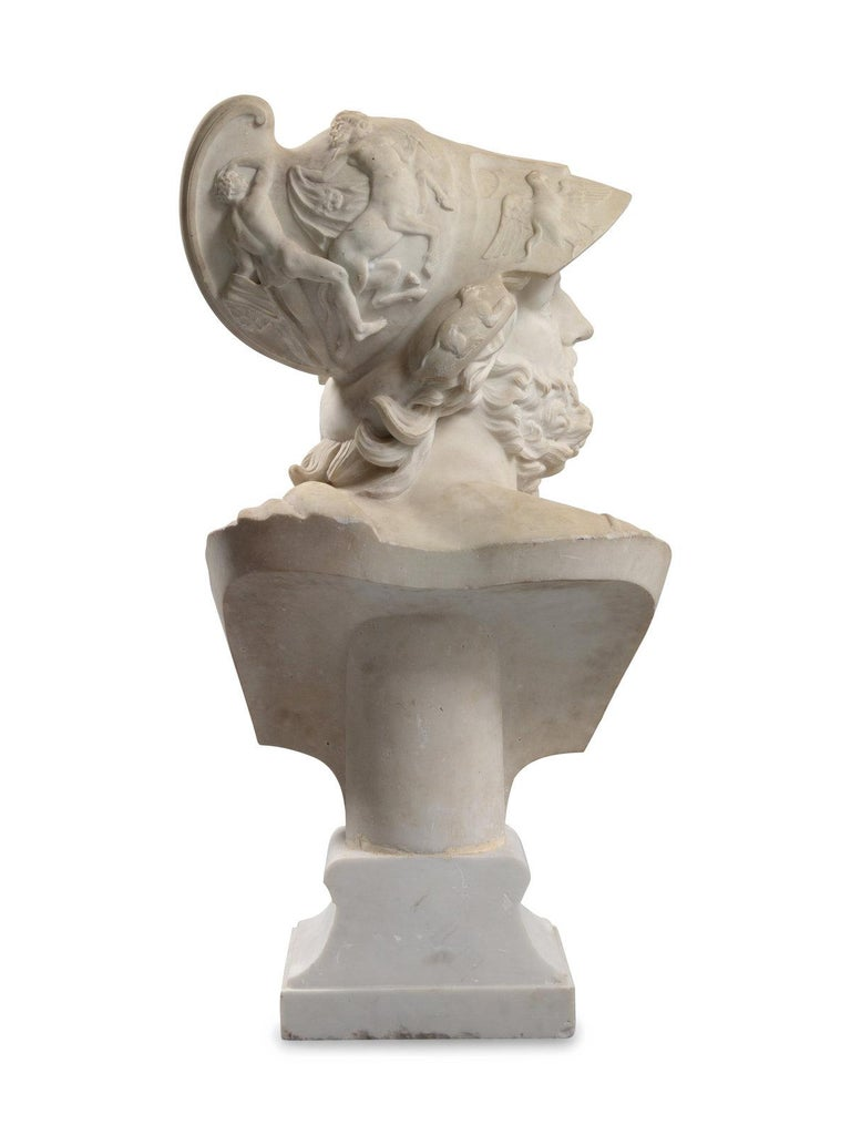 Late 19th Century Italian Carved Marble Bust of Ajax For Sale