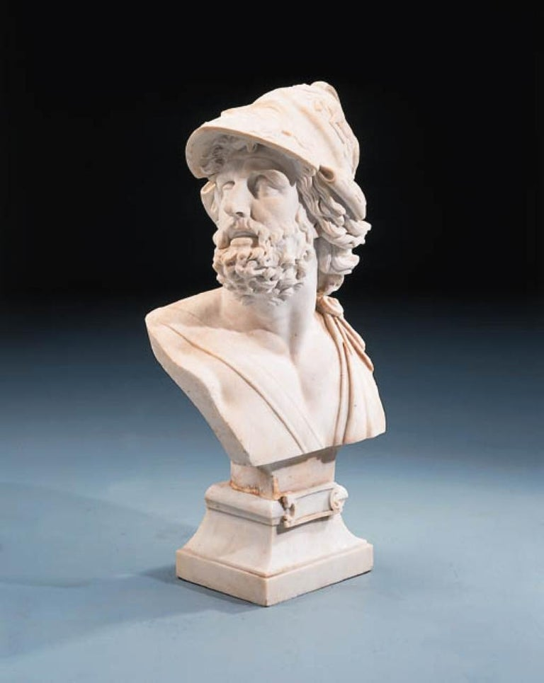 Italian Carved Marble Bust of Ajax For Sale 1