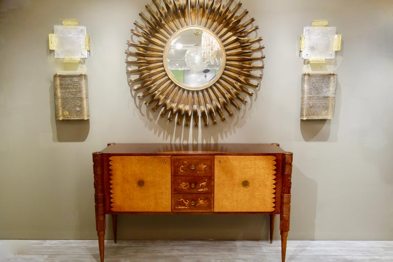 Italian Carved Two-Tone Wood Sideboard or Credenza by Pier Luigi Colli For Sale 6