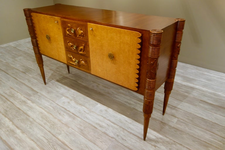 Mid-Century Modern Italian Carved Two-Tone Wood Sideboard or Credenza by Pier Luigi Colli For Sale