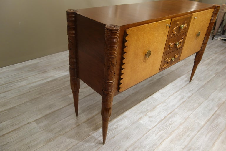 Italian Carved Two-Tone Wood Sideboard or Credenza by Pier Luigi Colli In Good Condition For Sale In New York, NY