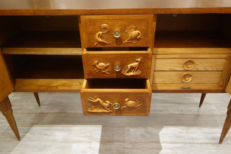 Italian Carved Two-Tone Wood Sideboard or Credenza by Pier Luigi Colli For Sale 3
