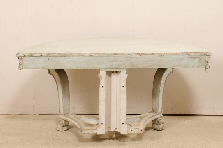 Italian Demi-Lune Console Table w/Beautifully Carved Adornment & Fluted Column For Sale 5