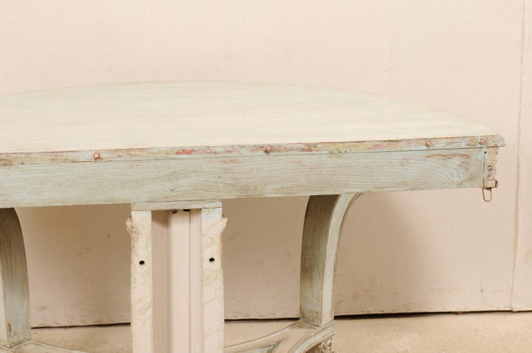 Italian Demi-Lune Console Table w/Beautifully Carved Adornment & Fluted Column For Sale 6