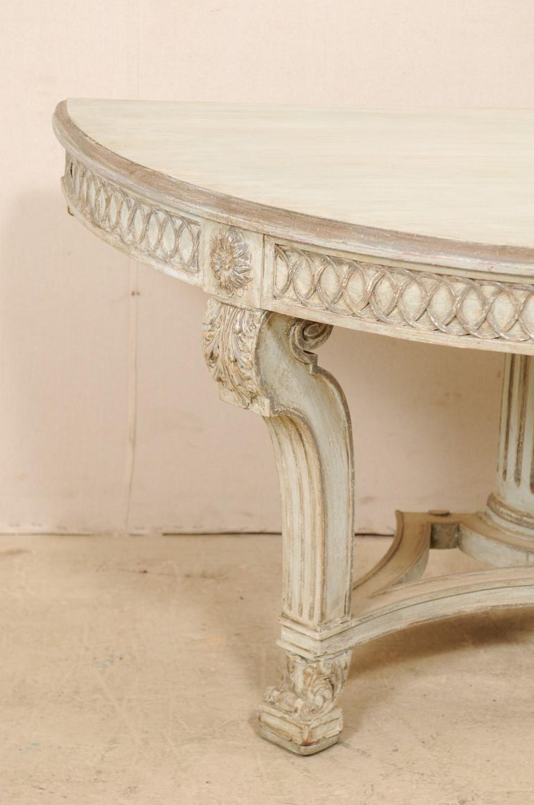 Italian Demi-Lune Console Table w/Beautifully Carved Adornment & Fluted Column In Good Condition For Sale In Atlanta, GA
