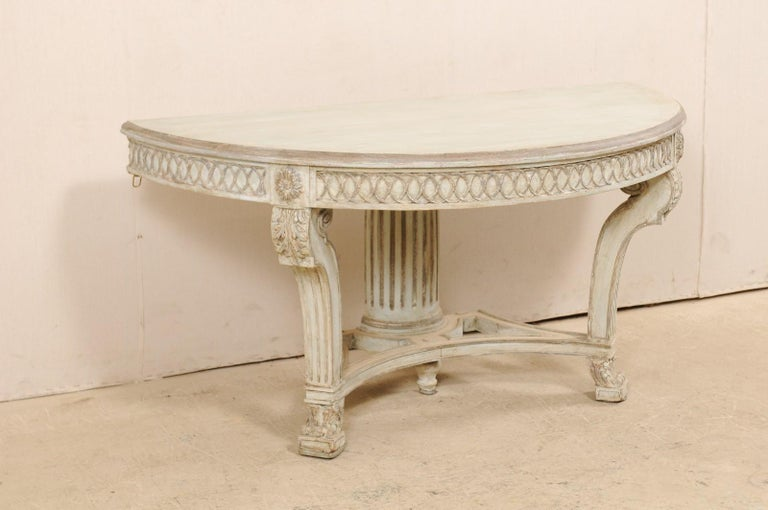 20th Century Italian Demi-Lune Console Table w/Beautifully Carved Adornment & Fluted Column For Sale