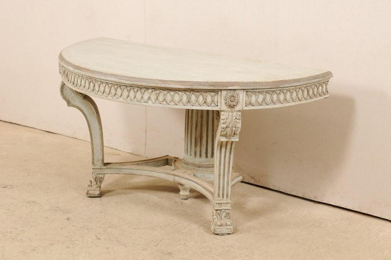 Wood Italian Demi-Lune Console Table w/Beautifully Carved Adornment & Fluted Column For Sale