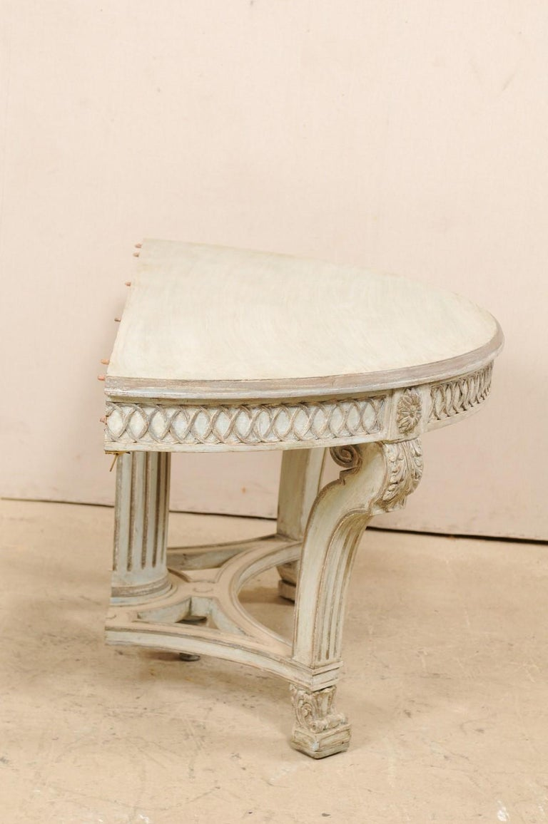 Italian Demi-Lune Console Table w/Beautifully Carved Adornment & Fluted Column For Sale 1