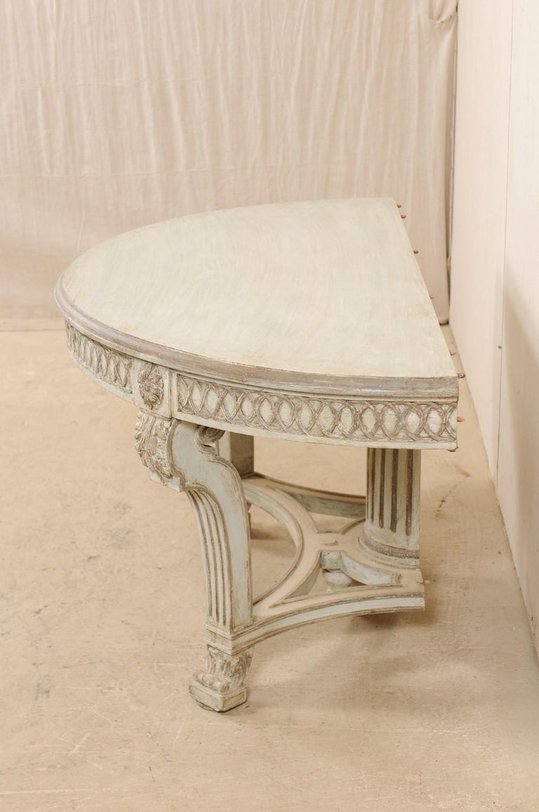 Italian Demi-Lune Console Table w/Beautifully Carved Adornment & Fluted Column For Sale 2