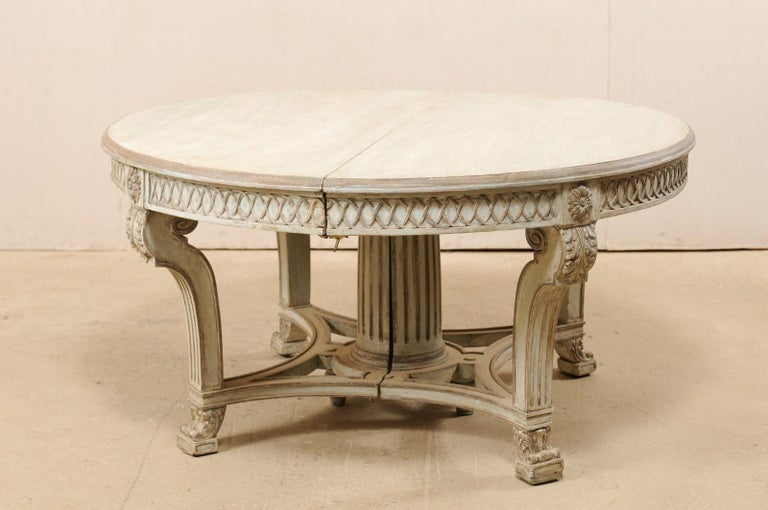 Italian Demi-Lune Console Table w/Beautifully Carved Adornment & Fluted Column For Sale 4