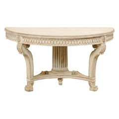 Italian Demi-Lune Console Table w/Beautifully Carved Adornment & Fluted Column