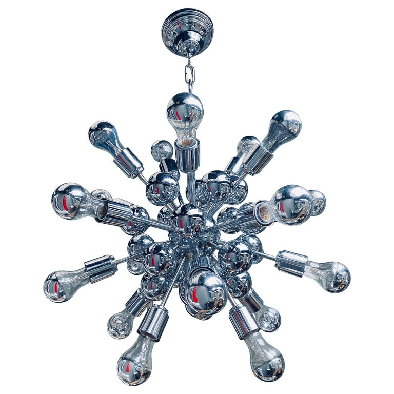 Italian Chrome Sputnik Chandelier by Sciolari For Sale