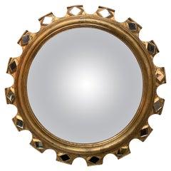 Mid-Century Italian Gilt-Wood Starburst Convex Mirror