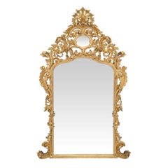 Italian Early 19th Century Baroque Giltwood Mirror