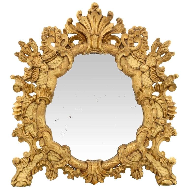 Italian Early 19th Century Baroque Style Giltwood Mirror