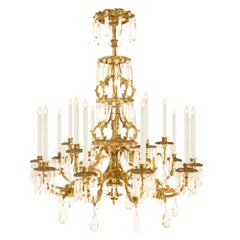 Italian Early 19th Century Tuscan Giltwood and Crystal Chandelier