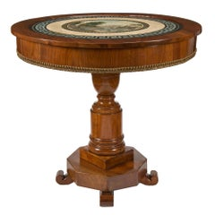 Italian Early 19th Century Walnut and Scagliola Circular Center Table