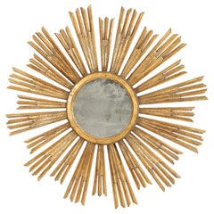 Italian Early 20th Century Gold Giltwood Sunburst Mirror of Large Scale