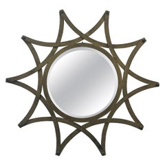 Italian Gilt Metal Sunburst Mirror, 1960s