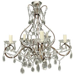 Italian Iron and Glass Chandelier