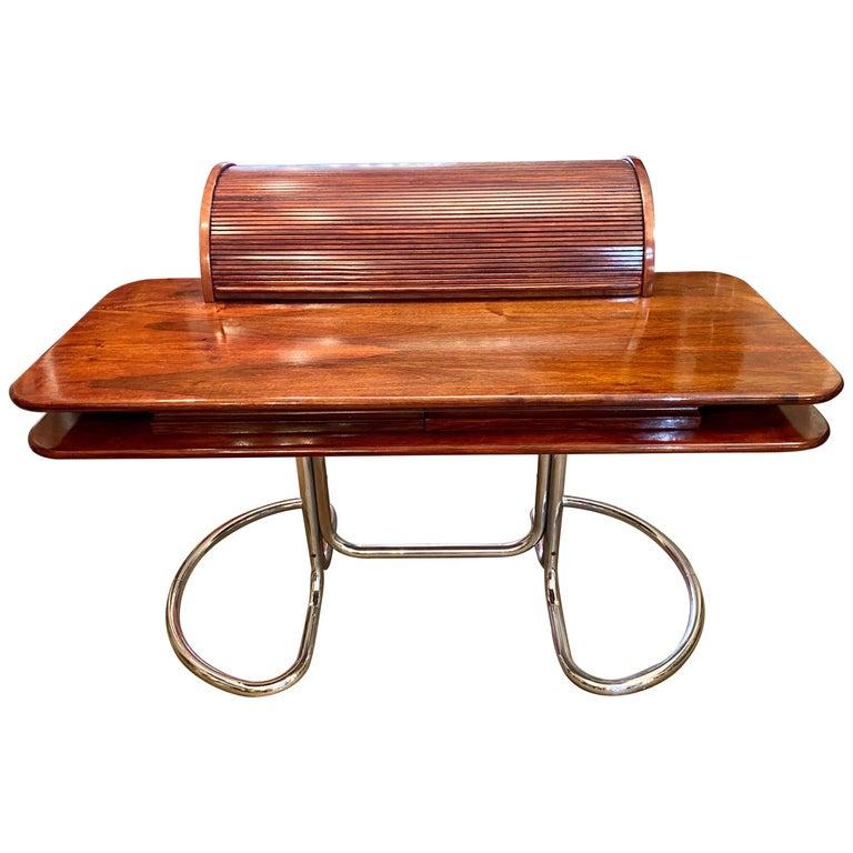 "Italian ""Maia"" Roll Top Tambour Desk by Giotto Stoppino for Bernini For Sale"