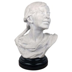 Italian Marble Bust of a Smiling Young Woman, Signed Tiruk