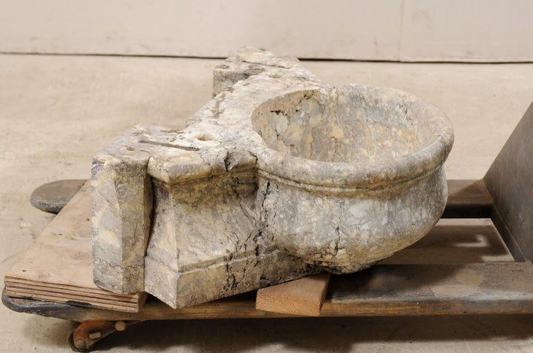 Carved Italian Marble Fountain Basin from the 19th Century For Sale