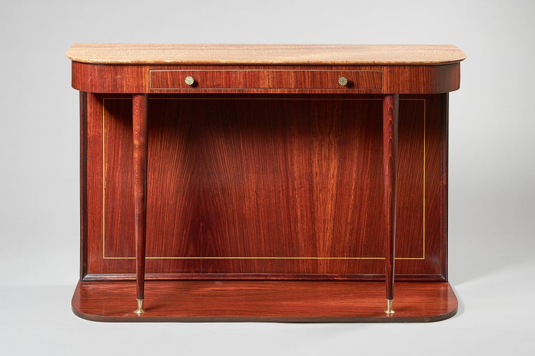 Veneer Mid-century Italian Marble Mounted Console Table For Sale