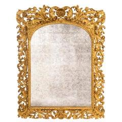 Italian Mid-19th Century Baroque Giltwood Mirror