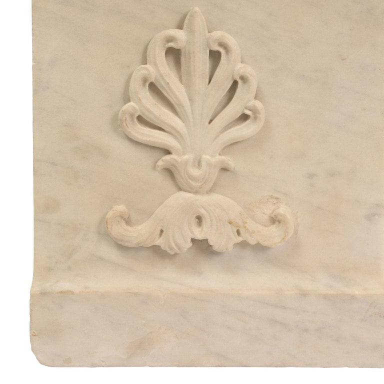 Italian Mid-19th Century White Carrara Marble Bench For Sale 6