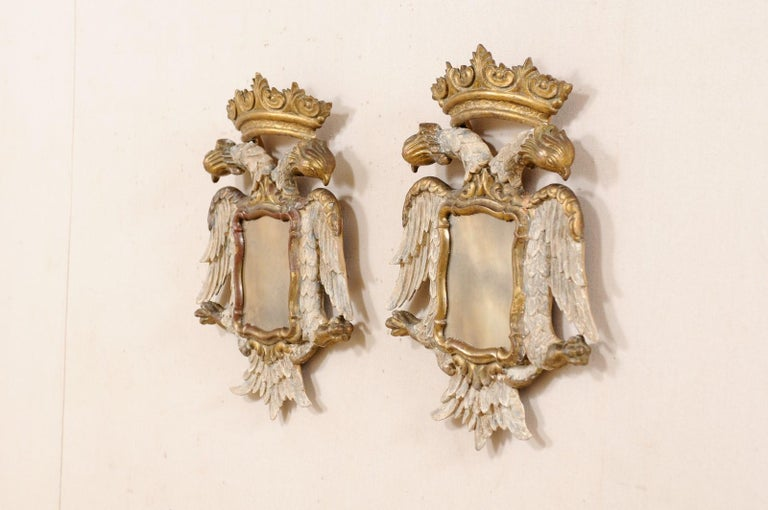 Italian Pair Federal-Style Eagle Wall Decorations with Mirror Centers In Good Condition For Sale In Atlanta, GA