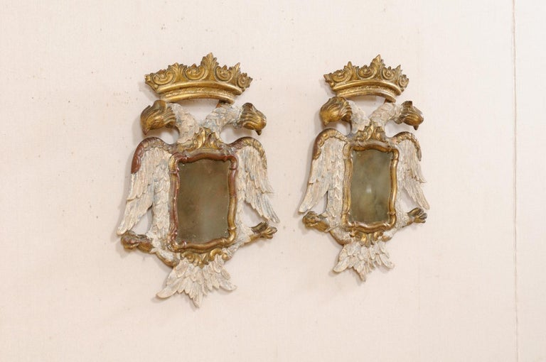 20th Century Italian Pair Federal-Style Eagle Wall Decorations with Mirror Centers For Sale