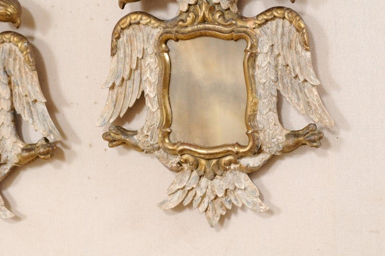 Italian Pair Federal-Style Eagle Wall Decorations with Mirror Centers For Sale 4