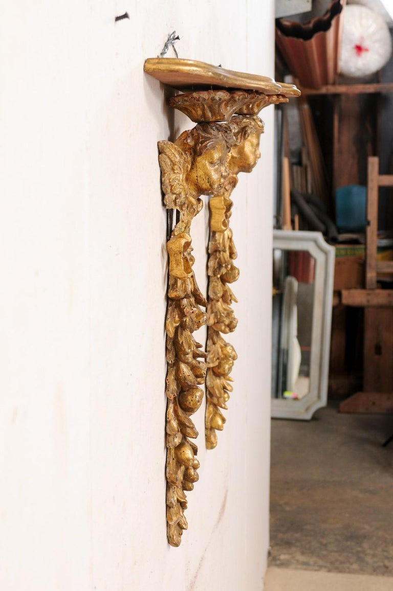 Italian Pair of Antique Carved and Giltwood Putti & Garland Fragments with Shelf For Sale 5