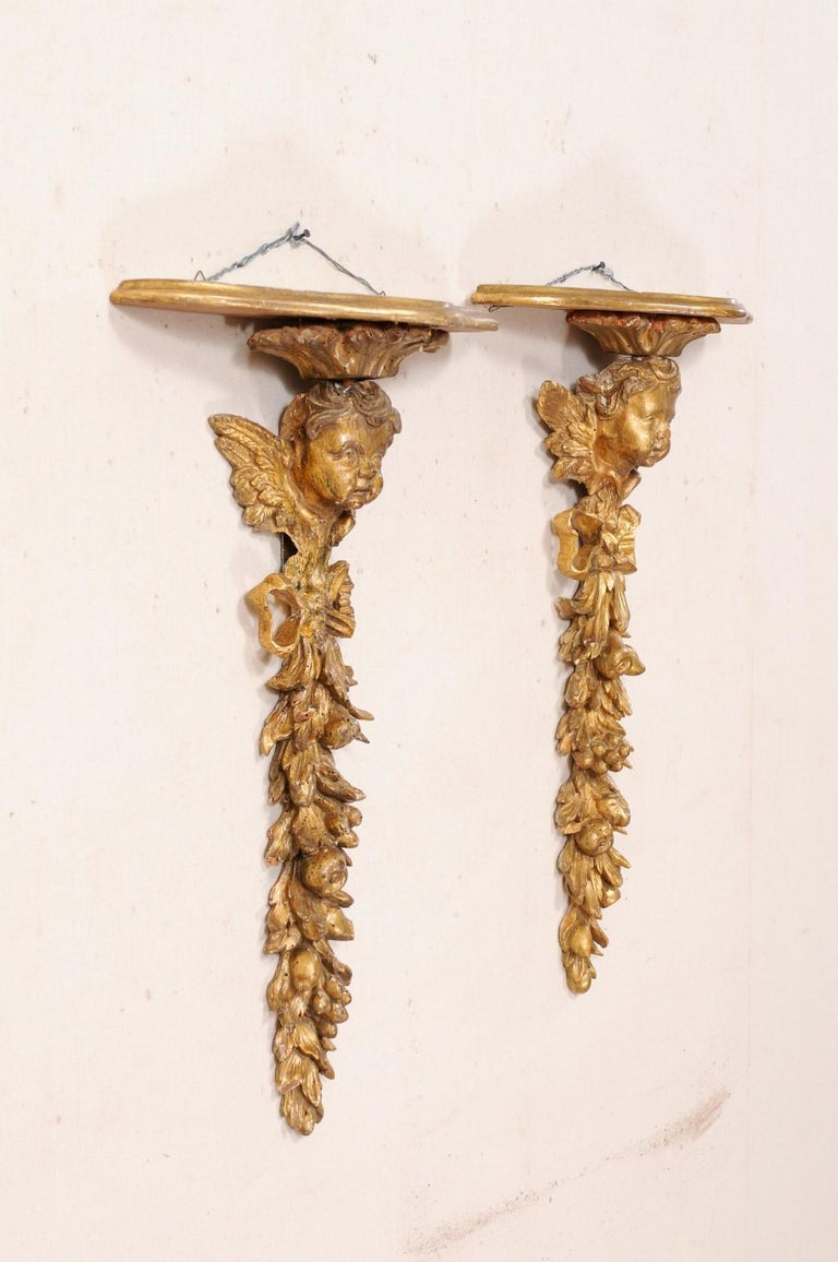 Italian Pair of Antique Carved and Giltwood Putti & Garland Fragments with Shelf In Good Condition For Sale In Atlanta, GA
