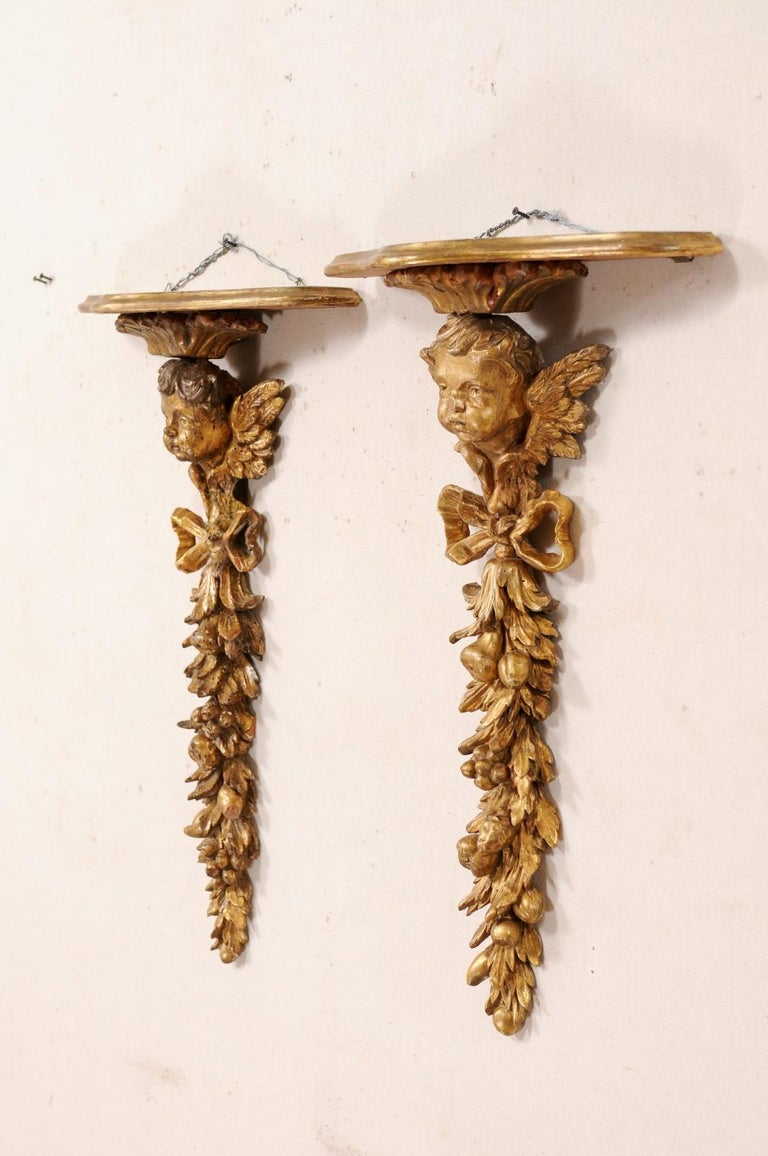 19th Century Italian Pair of Antique Carved and Giltwood Putti & Garland Fragments with Shelf For Sale