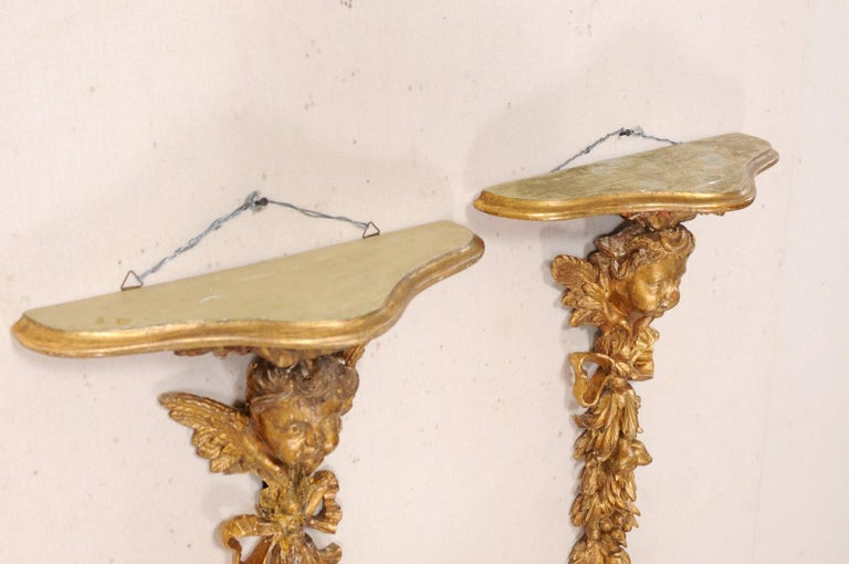 Italian Pair of Antique Carved and Giltwood Putti & Garland Fragments with Shelf For Sale 4