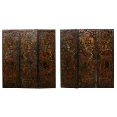 Italian Pair of Leather Embossed Room Dividers, Turn of the 17th & 18th Century