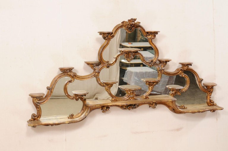 Italian Rococo Style Wall Étagère with Mirrored Back, 19th Century For Sale 5