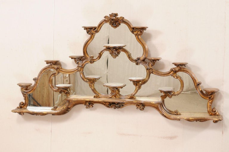 Gilt Italian Rococo Style Wall Étagère with Mirrored Back, 19th Century For Sale