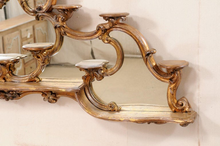 Italian Rococo Style Wall Étagère with Mirrored Back, 19th Century In Good Condition For Sale In Atlanta, GA