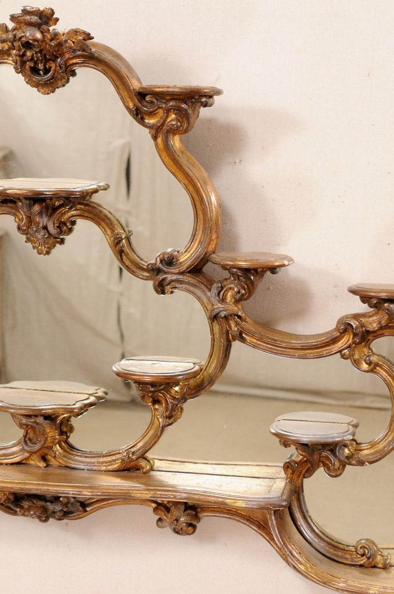 Wood Italian Rococo Style Wall Étagère with Mirrored Back, 19th Century For Sale